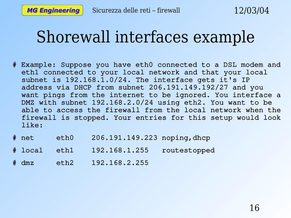 You interface a DMZ with subnet 192.168.2.0/24 using eth2.