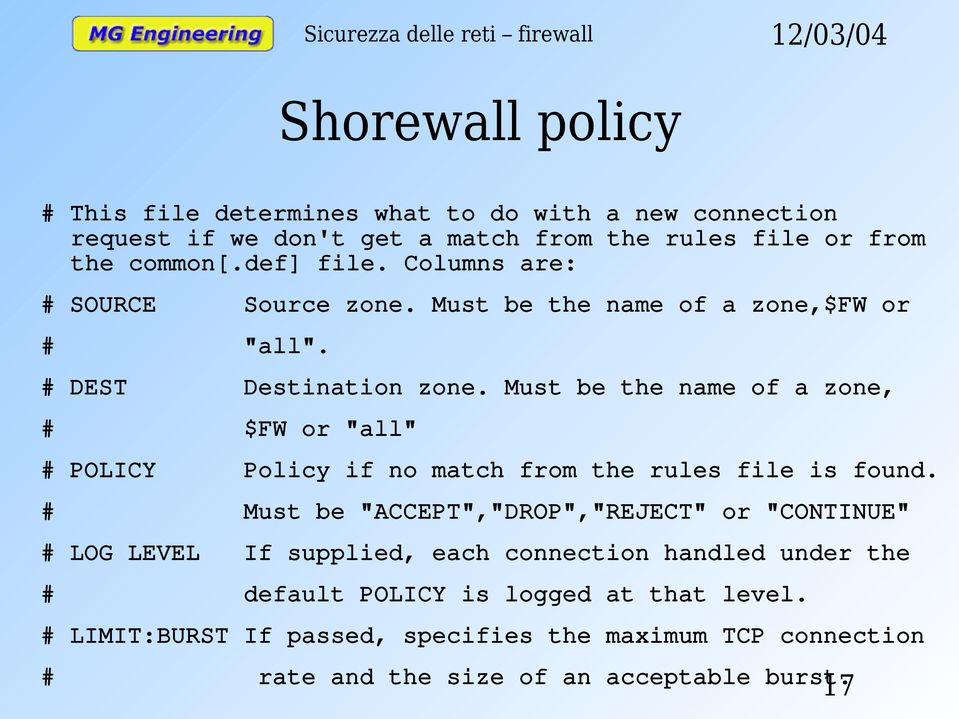 "Must be the name of a zone, # $FW or ""all"" # POLICY Policy if no match from the rules file is found."