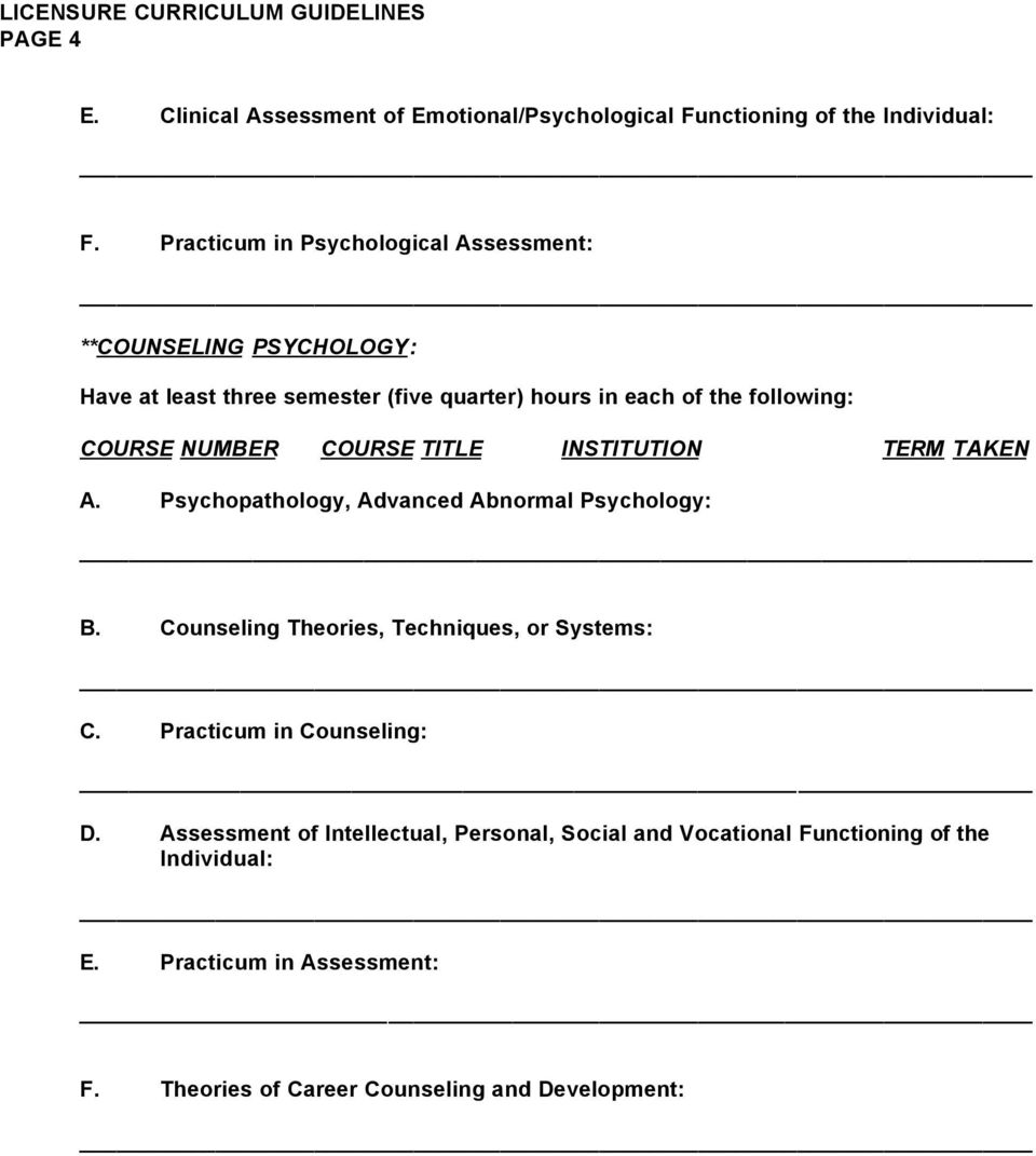 following: A. Psychopathology, Advanced Abnormal Psychology: B. Counseling Theories, Techniques, or Systems: C.