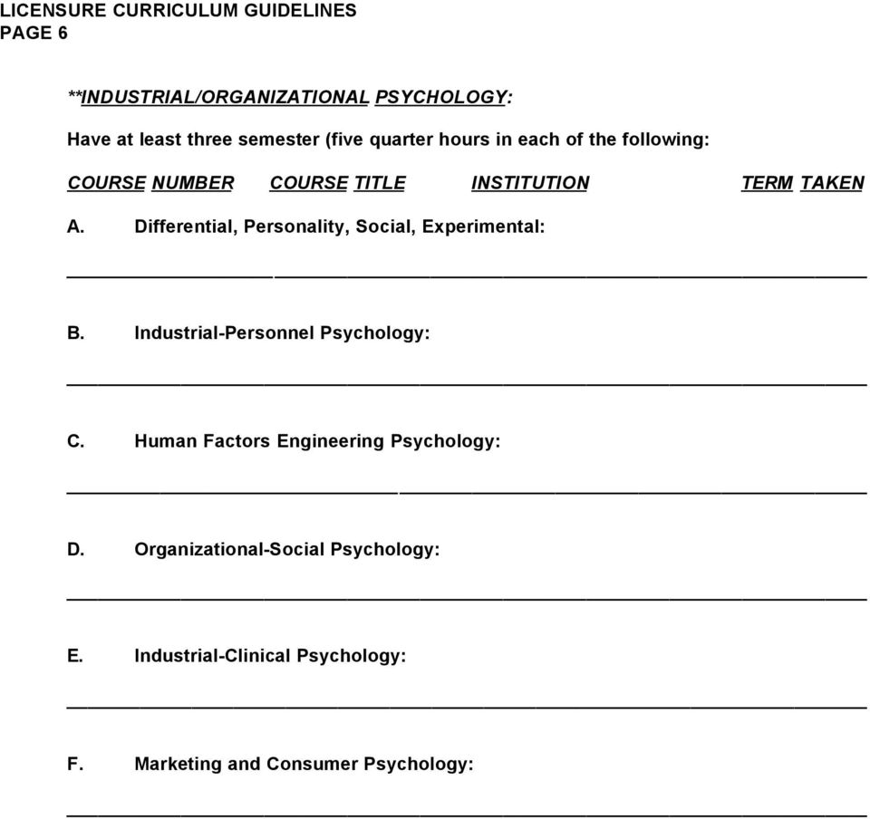 Industrial-Personnel Psychology: C. Human Factors Engineering Psychology: D.