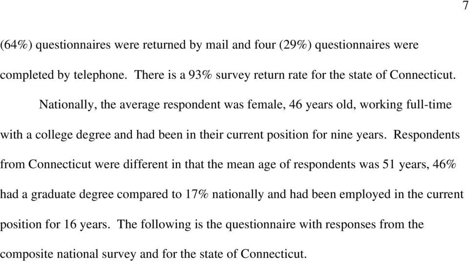 Nationally, the average respondent was female, 46 years old, working full-time with a college degree and had been in their current position for nine years.