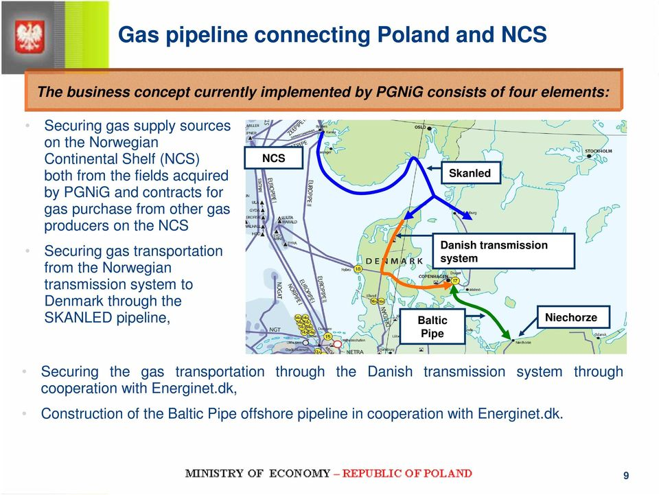 the Norwegian transmission system to Denmark through the SKANLED pipeline, NCS Baltic Pipe Skanled Danish transmission system Niechorze Securing the gas