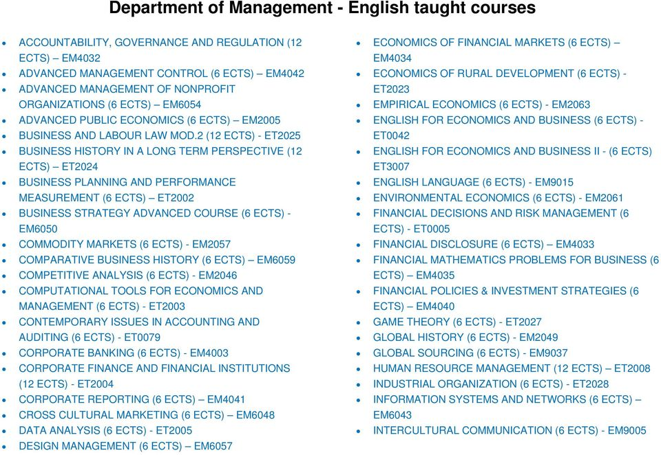 2 (12 ECTS) - ET2025 BUSINESS HISTORY IN A LONG TERM PERSPECTIVE (12 ECTS) ET2024 BUSINESS PLANNING AND PERFORMANCE MEASUREMENT (6 ECTS) ET2002 BUSINESS STRATEGY ADVANCED COURSE (6 ECTS) - EM6050