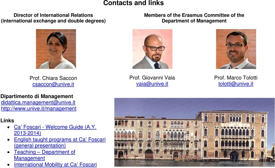 unive.it/management Links Ca Foscari - Welcome Guide (A.Y.