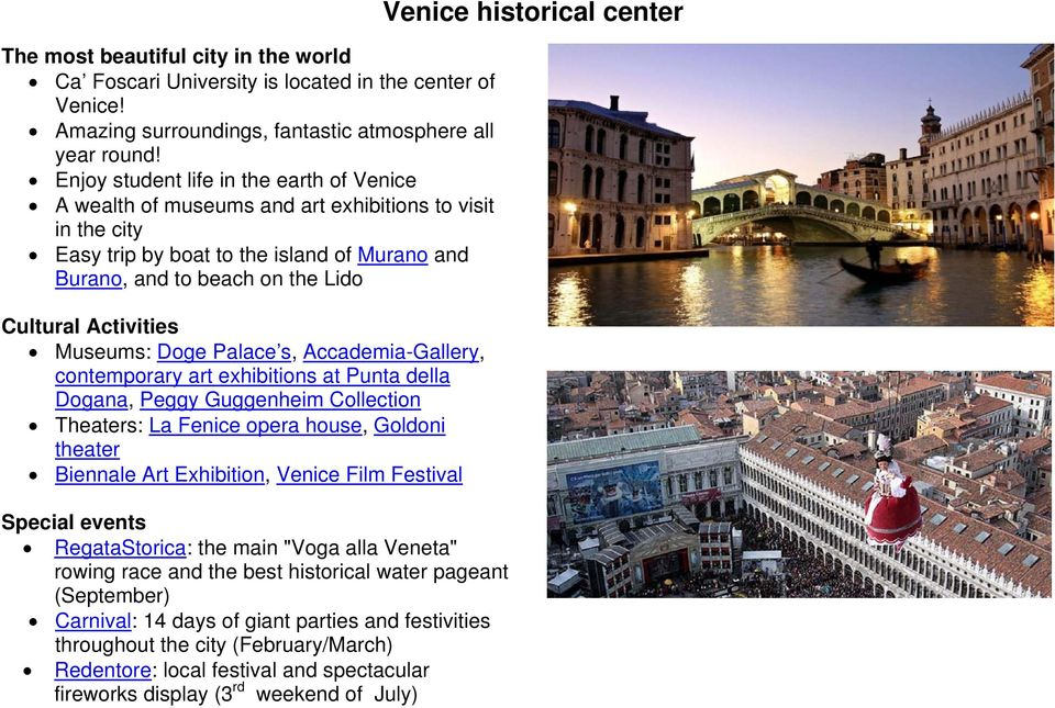 Activities Museums: Doge Palace s, Accademia-Gallery, contemporary art exhibitions at Punta della Dogana, Peggy Guggenheim Collection Theaters: La Fenice opera house, Goldoni theater Biennale Art