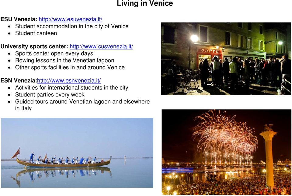it/ Sports center open every days Rowing lessons in the Venetian lagoon Other sports facilities in and around