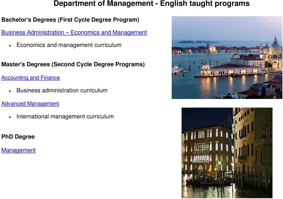 curriculum Master's Degrees (Second Cycle Degree Programs) Accounting and Finance Business