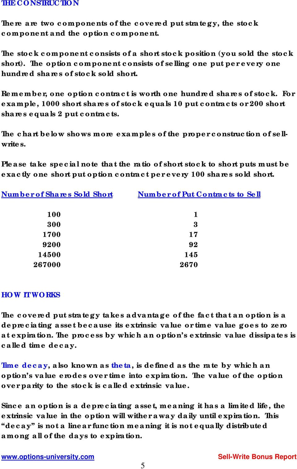 For example, 1000 short shares of stock equals 10 put contracts or 200 short shares equals 2 put contracts. The chart below shows more examples of the proper construction of sellwrites.