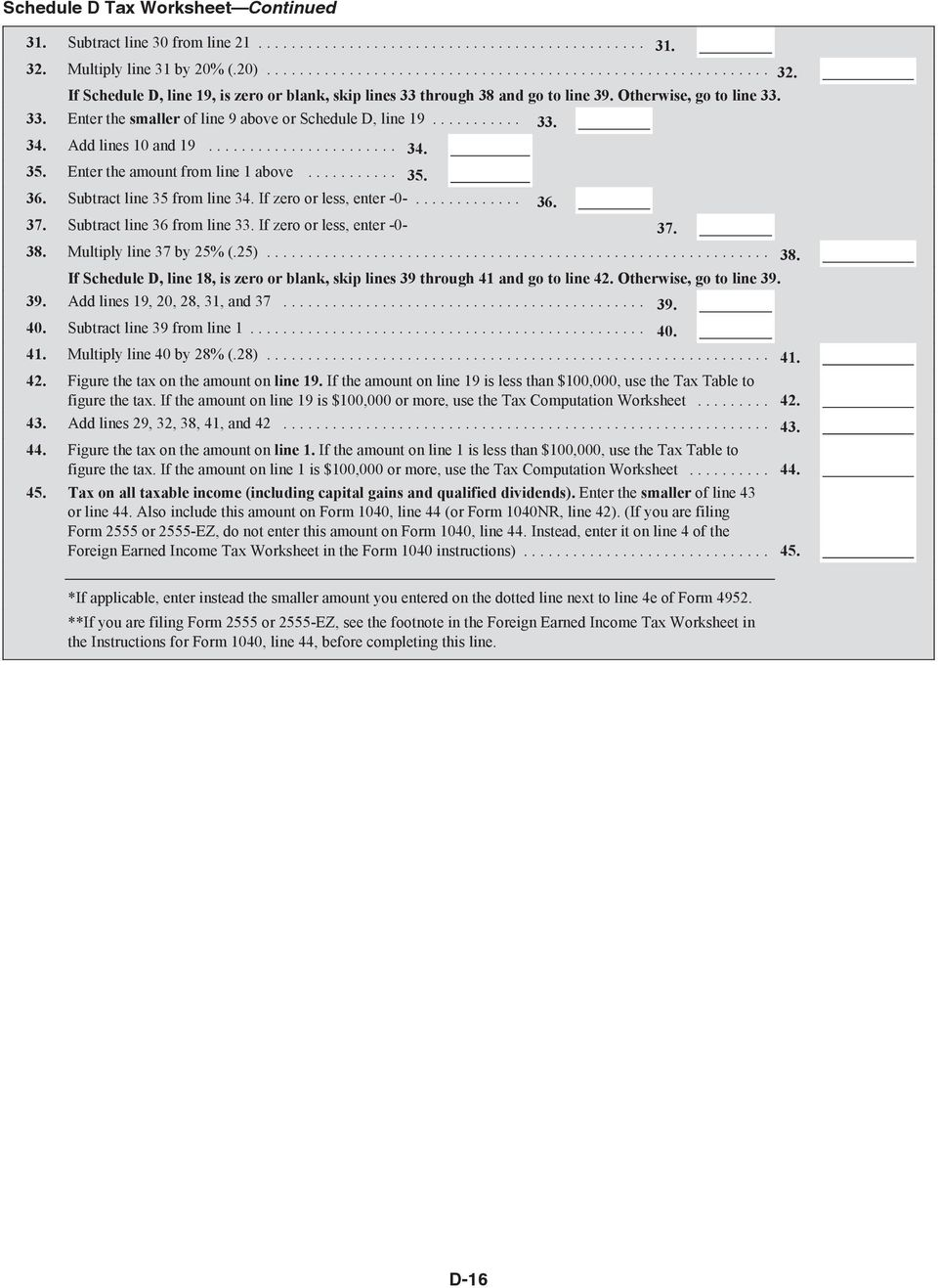 Foreign earned income tax worksheet in the form 1040 instructions
