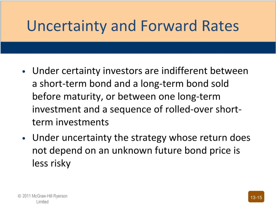 investment and a sequence of rolled-over shortterm investments Under uncertainty the