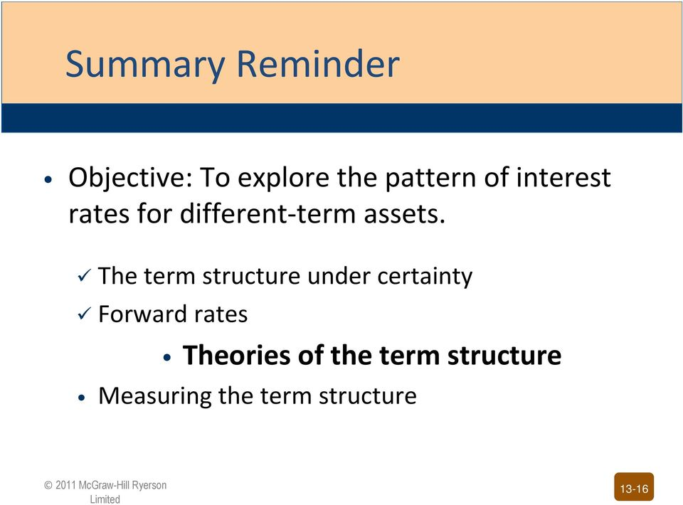 The term structure under certainty Forward rates