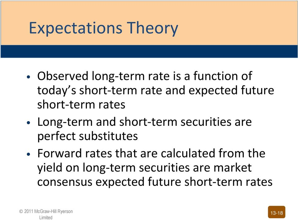 securities are perfect substitutes Forward rates that are calculated from the