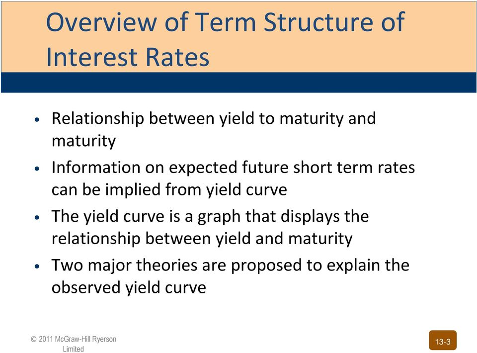 yield curve The yield curve is a graph that displays the relationship between yield