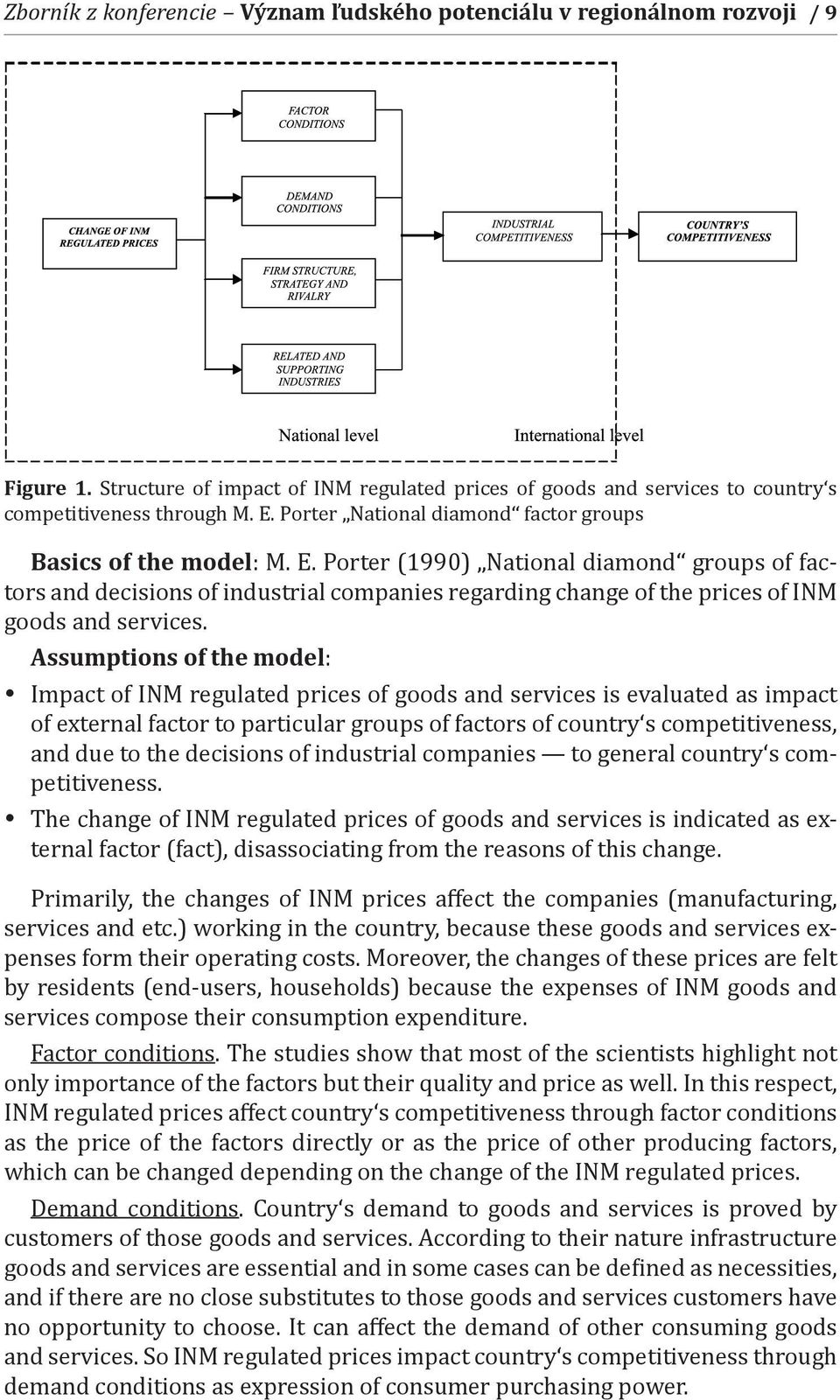 Porter (1990) National diamond groups of factors and decisions of industrial companies regarding change of the prices of INM goods and services.