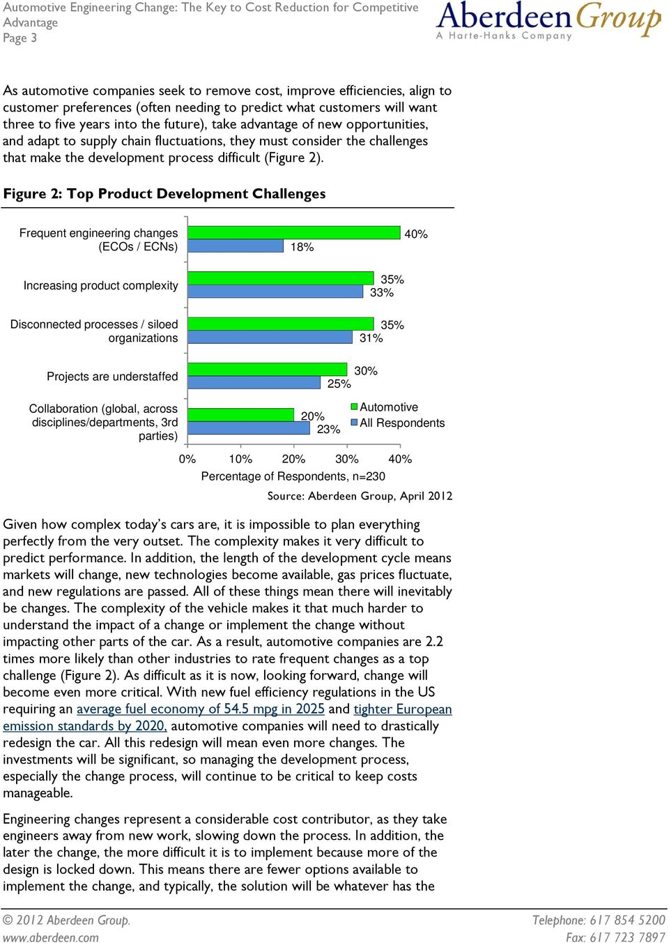 Figure 2: Top Product Development Challenges Frequent engineering changes (ECOs / ECNs) 18% 40% Increasing product complexity Disconnected processes / siloed organizations Projects are understaffed