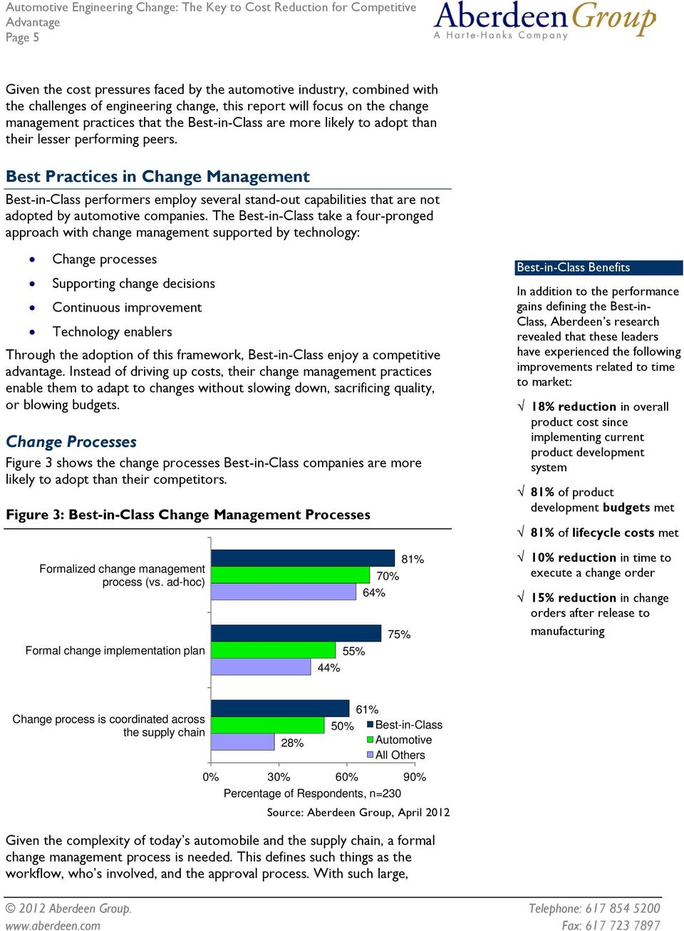 Best Practices in Change Management Best-in-Class performers employ several stand-out capabilities that are not adopted by automotive companies.