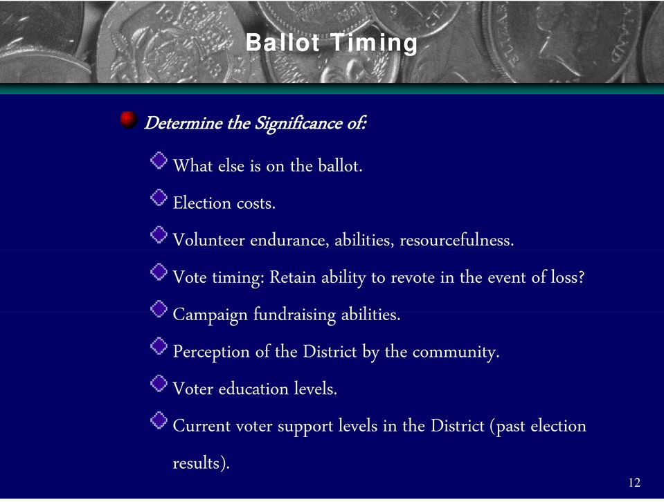 Vote timing: Retain ability to revote in the event of loss? Campaign fundraising i abilities.