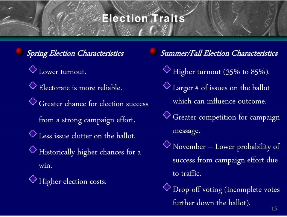 Higher election costs. Summer/Fall Election Characteristics Higher turnout (35% to 85%).