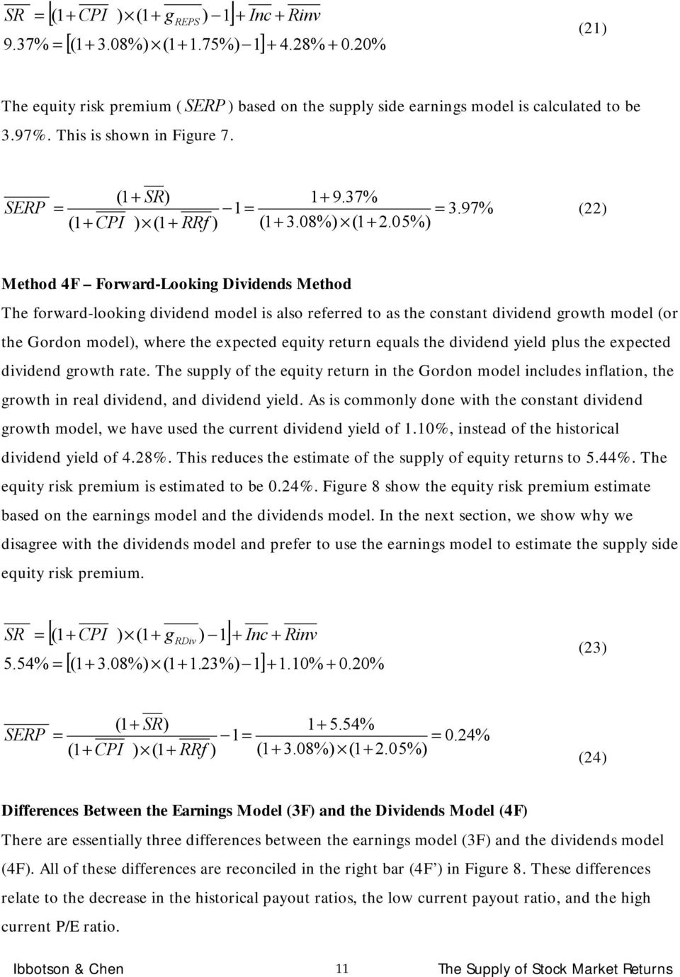 05%) (22) Mehod 4F Forward-Looking Dividends Mehod The forward-looking dividend model is also referred o as he consan dividend growh model (or he Gordon model), where he expeced equiy reurn equals he
