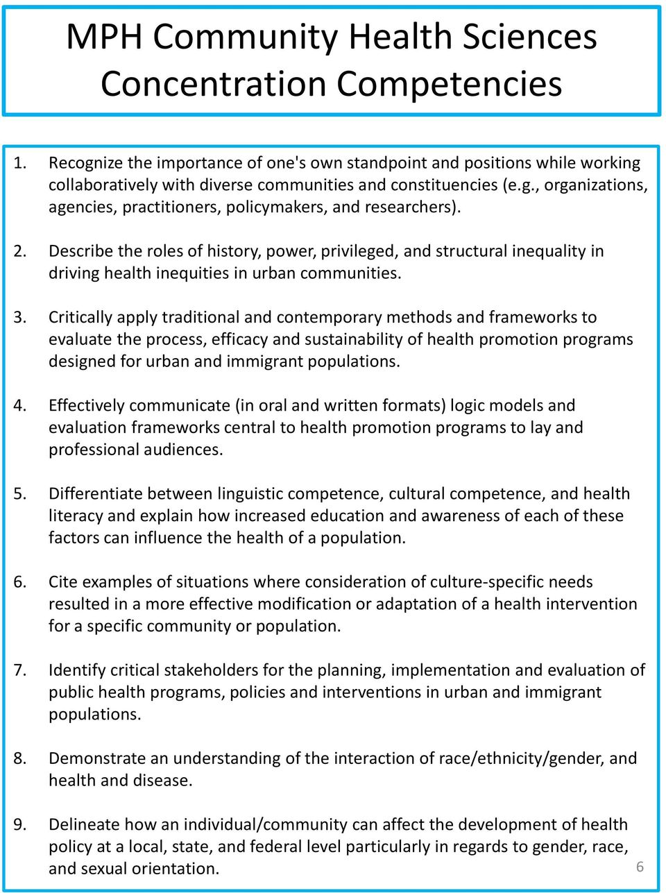 Critically apply traditional and contemporary methods and frameworks to evaluate the process, efficacy and sustainability of health promotion programs designed for urban and immigrant populations. 4.
