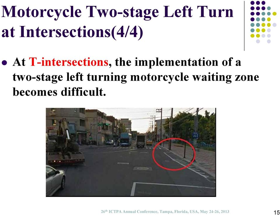 turning motorcycle waiting zone becomes difficult.