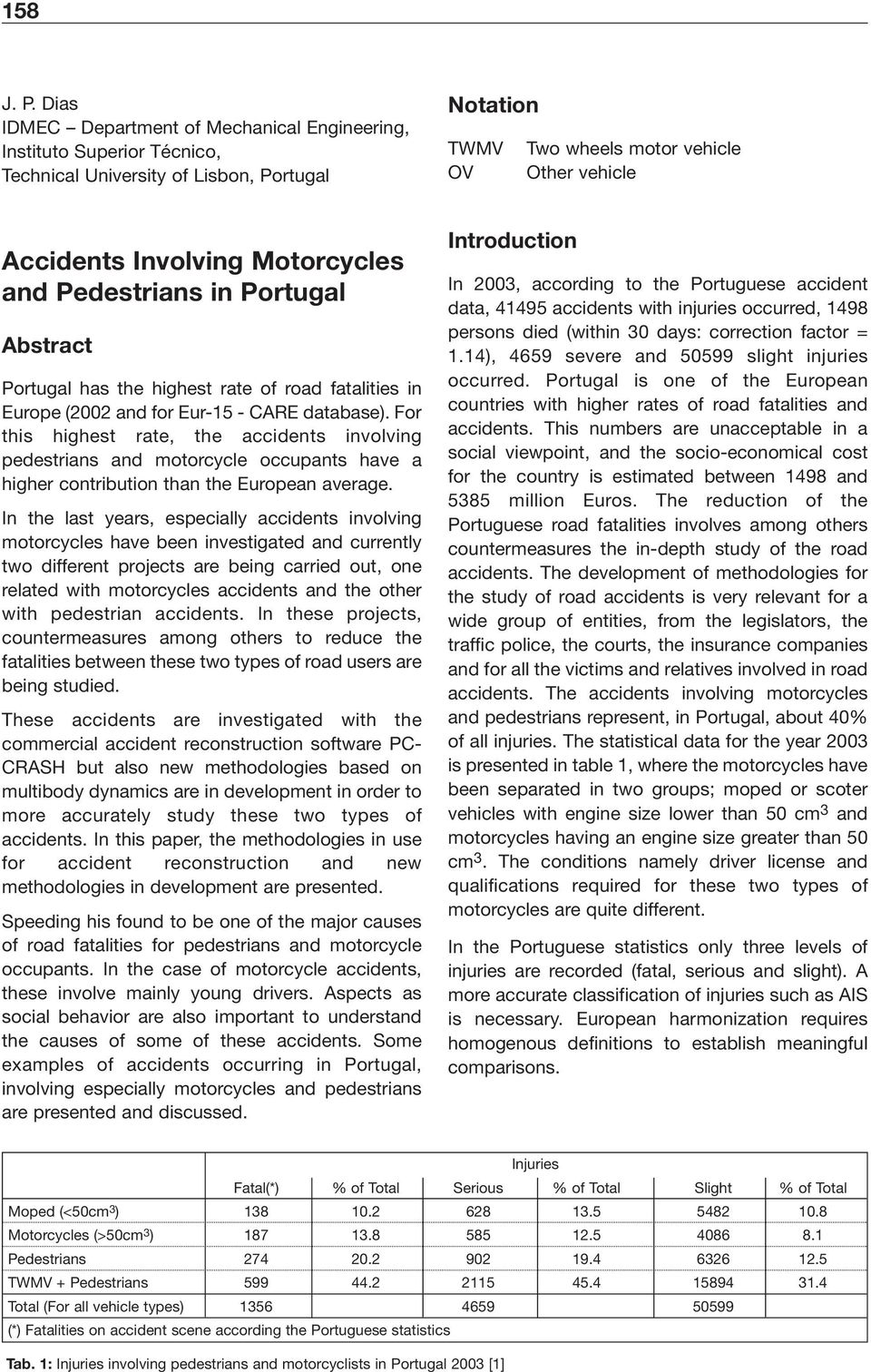 Motorcycles and Pedestrians in Portugal Abstract Portugal has the highest rate of road fatalities in Europe (2002 and for Eur-15 - CARE database).