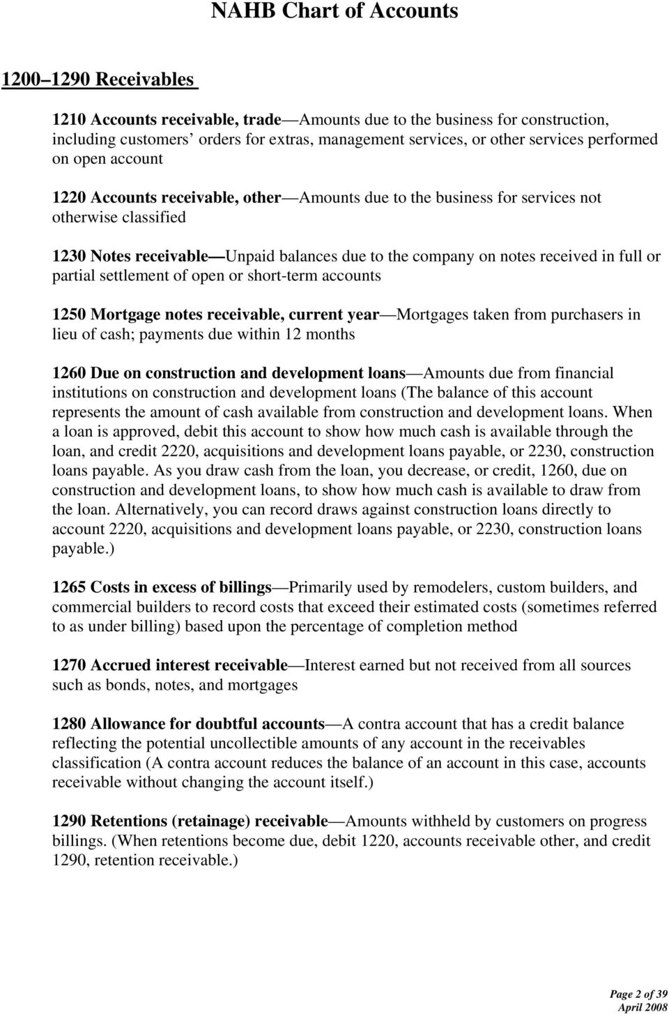 settlement of open or short-term accounts 1250 Mortgage notes receivable, current year Mortgages taken from purchasers in lieu of cash; payments due within 12 months 1260 Due on construction and