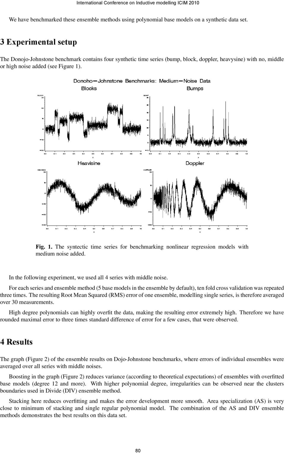 . Fig. 1. The syntectic time series for benchmarking nonlinear regression models with medium noise added. In the following experiment, we used all 4 series with middle noise.