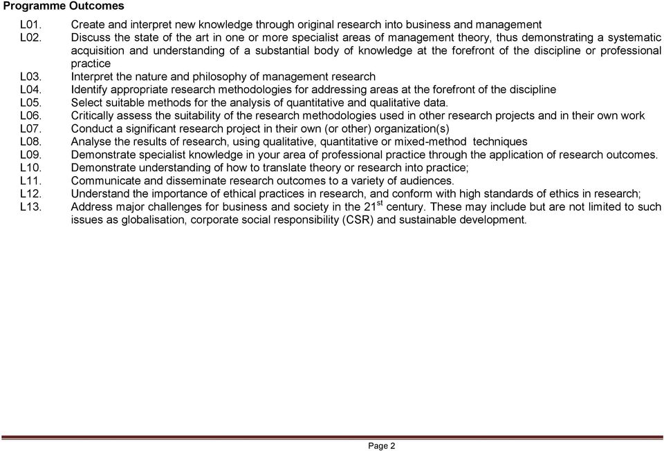 the discipline or professional practice L03. Interpret the nature and philosophy of management research L04.