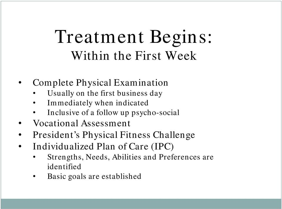 Vocational Assessment President s Physical Fitness Challenge Individualized Plan of