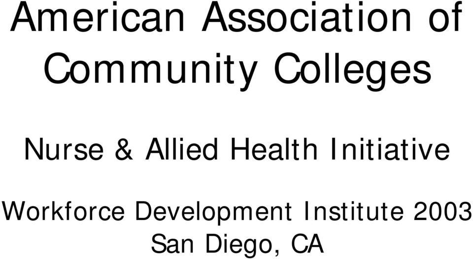 Allied Health Initiative