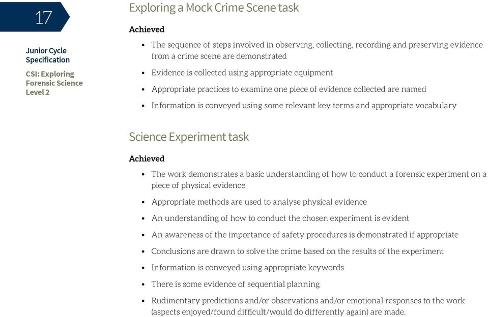 Experiment task Achieved The work demonstrates a basic understanding of how to conduct a forensic experiment on a piece of physical evidence Appropriate methods are used to analyse physical evidence