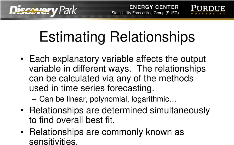 The relationships can be calculated via any of the methods used in time series