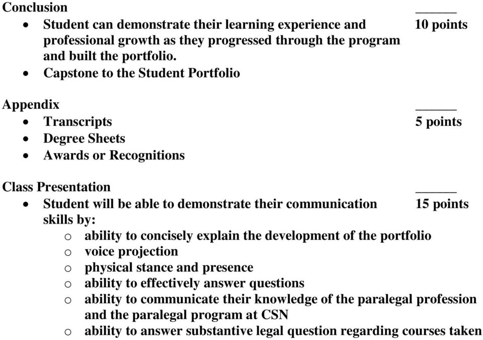 communication 15 points skills by: o ability to concisely explain the development of the portfolio o voice projection o physical stance and presence o ability to