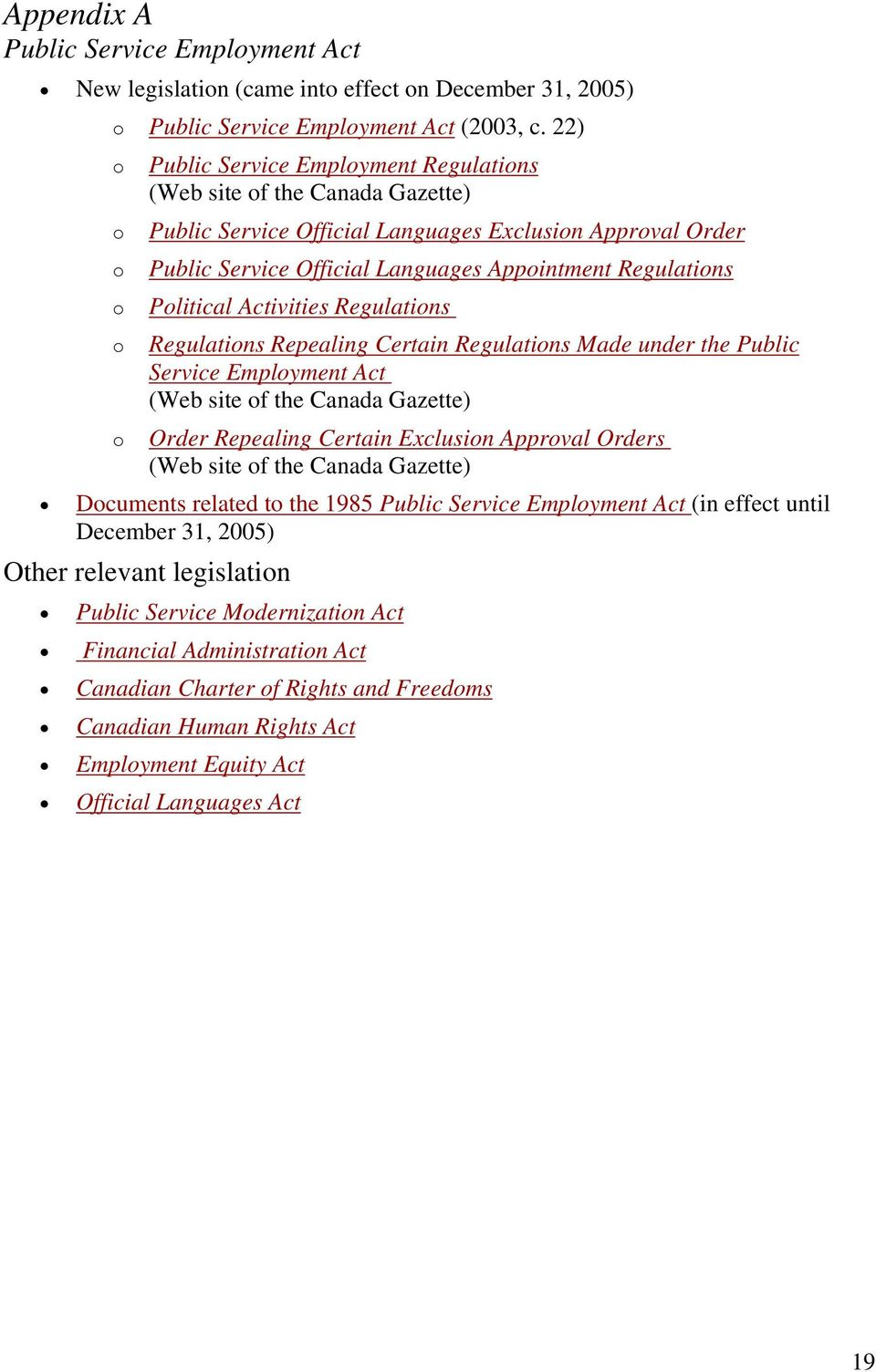 Regulations Political Activities Regulations Regulations Repealing Certain Regulations Made under the Public Service Employment Act (Web site of the Canada Gazette) Order Repealing Certain Exclusion