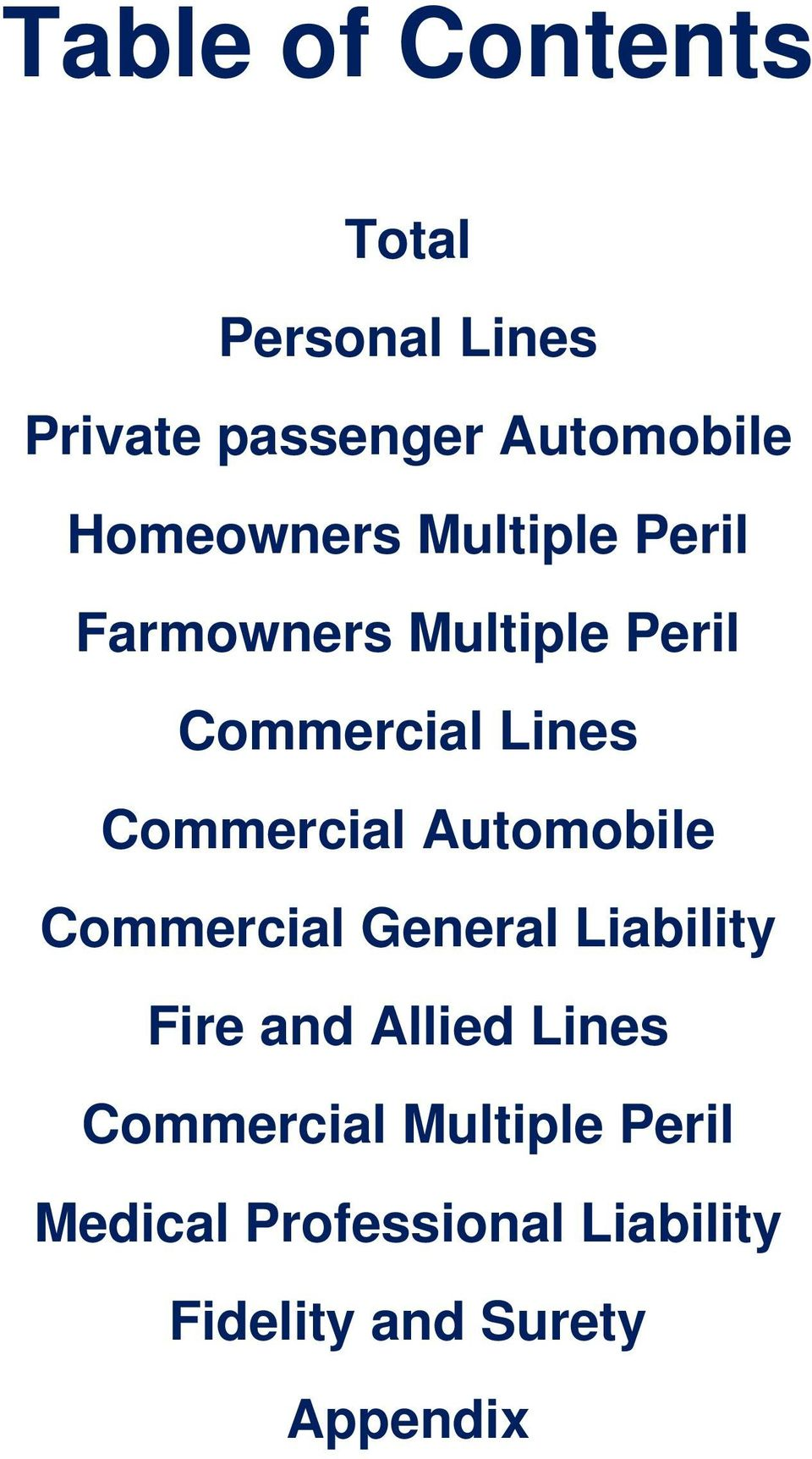 Commercial Automobile Commercial General Liability Fire and Allied Lines