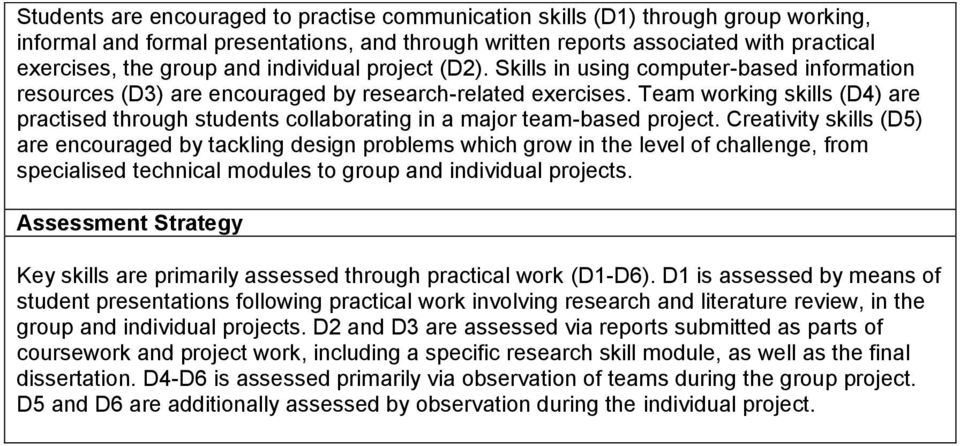 Team working skills (D4) are practised through students collaborating in a major team-based project.