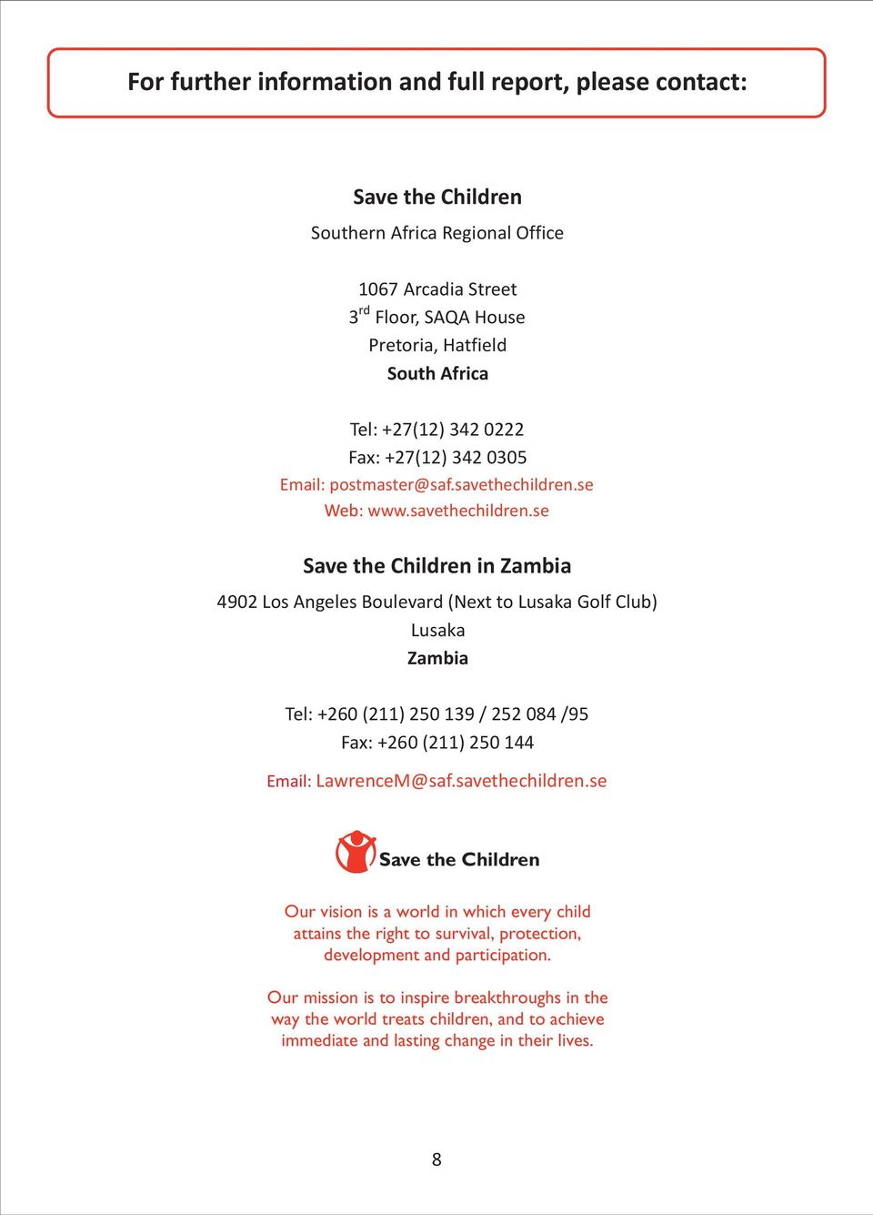 se Web: www.savethechildren.