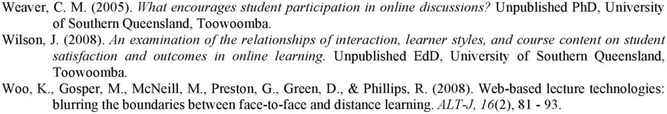 An examination of the relationships of interaction, learner styles, and course content on student satisfaction and outcomes in online learning.