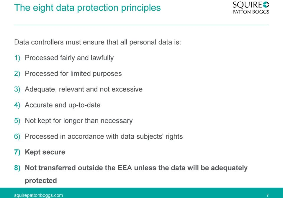 4) Accurate and up-to-date 5) Not kept for longer than necessary 6) Processed in accordance with data