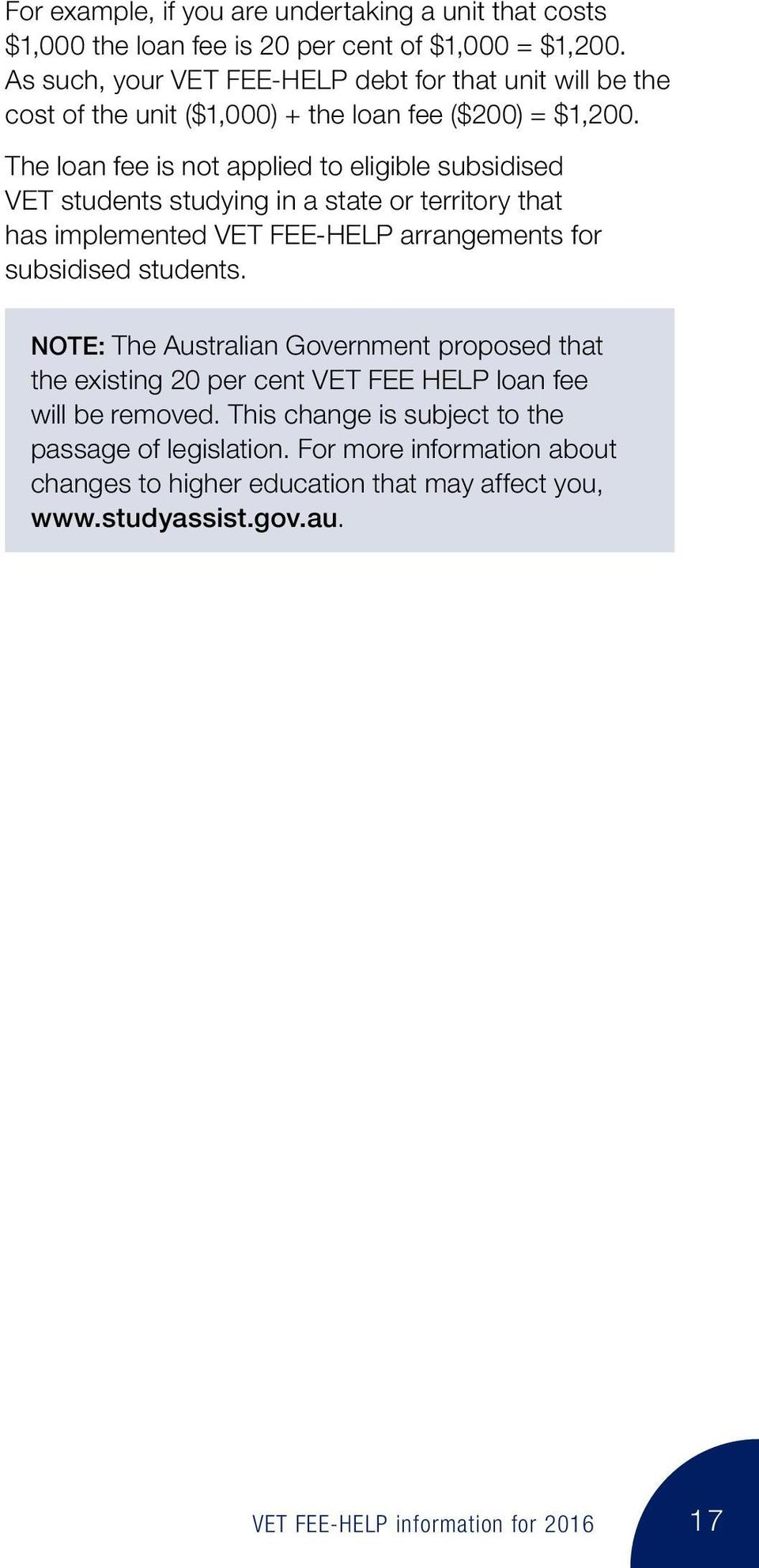 The loan fee is not applied to eligible subsidised VET students studying in a state or territory that has implemented VET FEE-HELP arrangements for subsidised students.