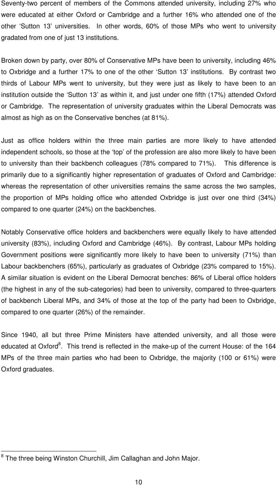 Broken down by party, over 80% of Conservative MPs have been to university, including 46% to Oxbridge and a further 17% to one of the other Sutton 13 institutions.