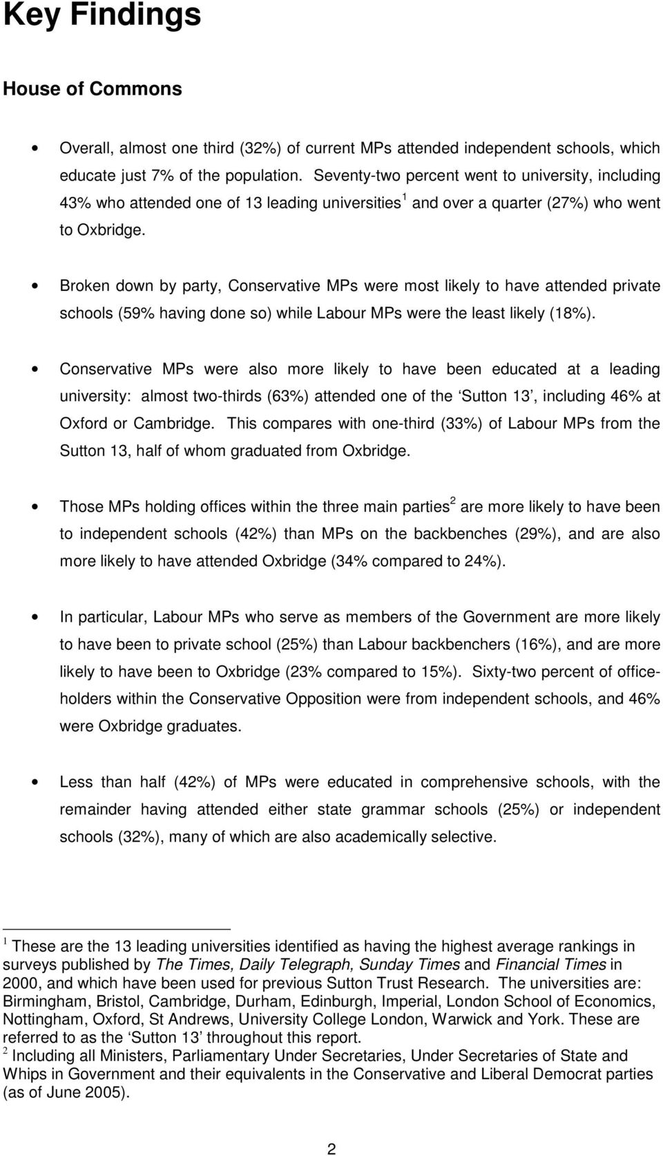 Broken down by party, Conservative MPs were most likely to have attended private schools (59% having done so) while Labour MPs were the least likely (18%).