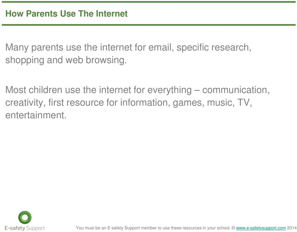 Most children use the internet for everything communication,