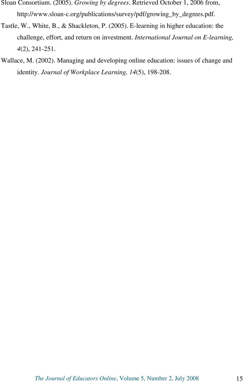 E-learning in higher education: the challenge, effort, and return on investment. International Journal on E-learning, 4(2), 241-251.