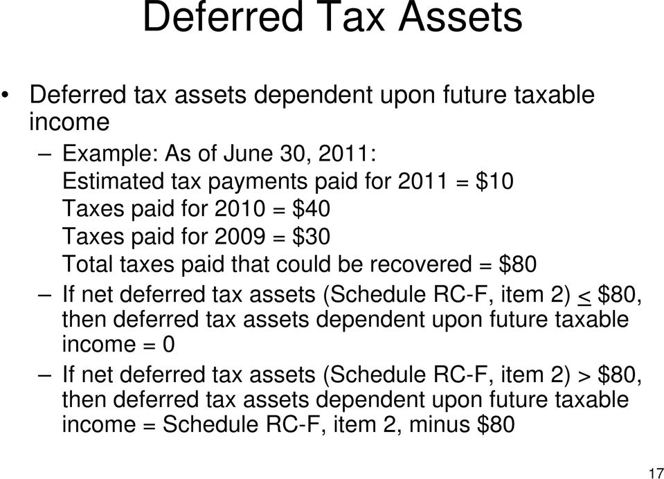 assets (Schedule RC-F, item 2) < $80, then deferred tax assets dependent upon future taxable income = 0 If net deferred tax