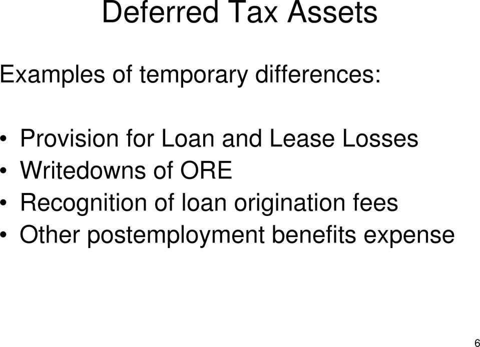 Writedowns of ORE Recognition of loan