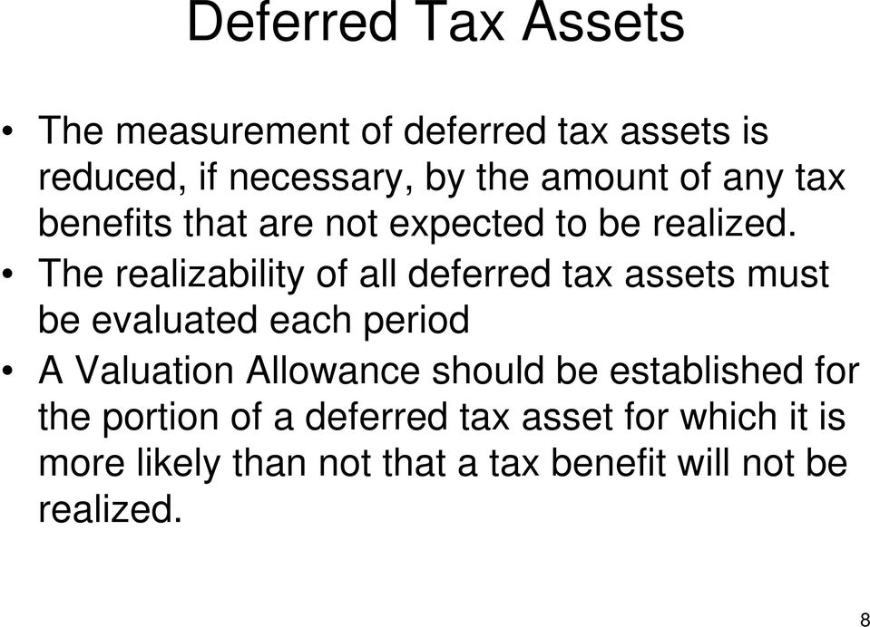 The realizability of all deferred tax assets must be evaluated each period A Valuation