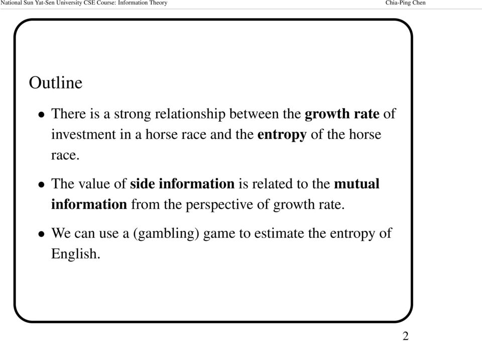 The value of side information is related to the mutual information from