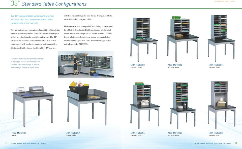 "The 33"" table can be used as a stand-alone unit or as a corner station used with our larger standard mailroom tables."